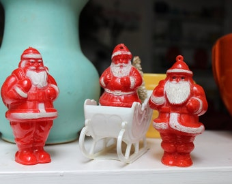 3 Hard Plastic Santa Claus and a Sleigh bottle brush tree Candy Container lot VINTAGE by Plantdreaming