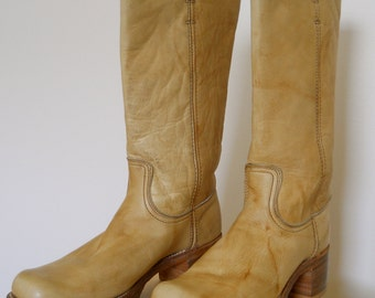 1970s Banana Leaf Frye Boots Womens 9.5 Narrow
