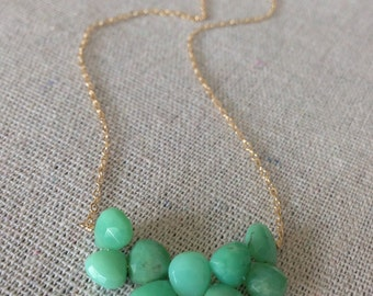 Chrysoprase cluster gold necklace