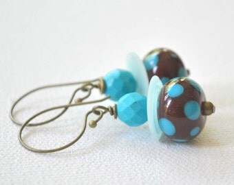 Dark Red and Blue Polka Dot Lampwork Glass Earrings