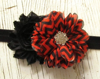 Baby Girls Halloween Headband- Orange & Black Chevron Flower with Black Chiffon Flower on a Black Elastic Headband- Girls Headband