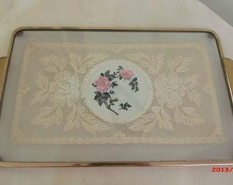 Sweetheart SAle Vintage English Cottage Glass Lace Vanity Tray Pink Cabbage Roses Romantic Elegance