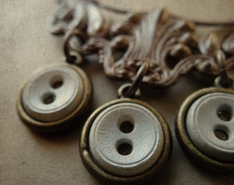 Vintage Repurposed Button Necklace - Thrice