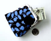 CLEARANCE SALE 30% OFF...periwinkle blue dark brown floral vegan change purse...also holds medications jewelry feminine products...handmade