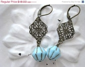 On Sale Vintage Blue and Bronze Czech Glass Bead Antique Brass Filigree Earrings