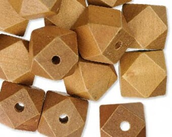 20mm x 20mm faceted, natural wood cubes, 10 pcs. Nature, natural, Earth, jungle, diamond, sand, desert, cube, vacation, tropical, cruise