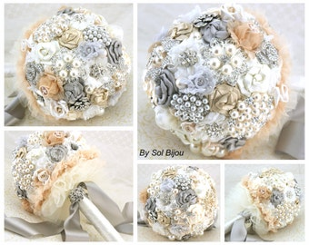 Brooch Bouquet, Vintage Style, Champagne,Tan, Ivory, Cream, Gray, Gatsby, Wedding Bouquet, Elegant Wedding, Jeweled, Crystals, Lace, Pearls