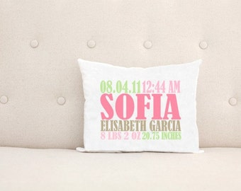 Unique Baby Gift, Birth Announcement, Personalized Baby Pillow, Pink Green Brown