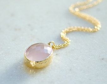 Pink opal necklace, Pink and gold wedding, Bridesmaid jewelry gifts, Gold pendant necklace
