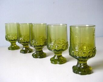 Vintage Tiffin Glass goblets Franciscan Madeira pattern glasses Green stemware