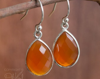 Silver Red Carnelian Teardrop Earrings - Gemstone Earrings