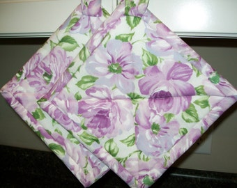 Spring Lilac Floral Quilted Potholders or Hotpads