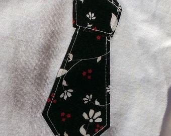 Baby Boys Necktie Onesie // Necktie Clothes // Tie Bodysuit // Size 9-12 Months // Black floral tie