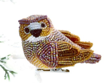 Owl Christmas Ornament Beaded Bird Clip-On Decoration Holiday Fall Decor Hostess Gift *READY TO SHIP