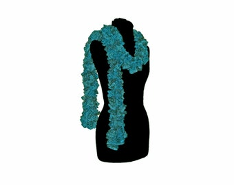 Handmade Ruffle Scarf Teal Metallic Neck Warmer Long Trendy Scarf Womens Fashion by CraftCrazy4U on Etsy
