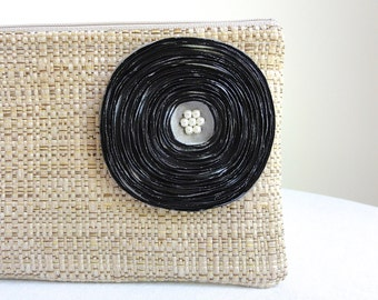 Tan Woven Clutch Handbag with Silver Green Satin Flower - READY TO SHIP