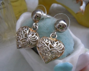 Old Stock SALE Vintage Sterling Silver Dangling .925 HEART Drop EARRINGS pierced 4.8g