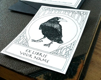 Ex Libris Raven White 15 Personalized Bookplates Booklabels