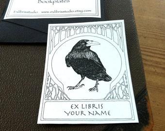 Bookplates Raven White 15 Personalized Ex Libris  Booklabels