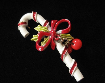 ART Signed Enamel Candy Cane Brooch, Dangling Holly Berries