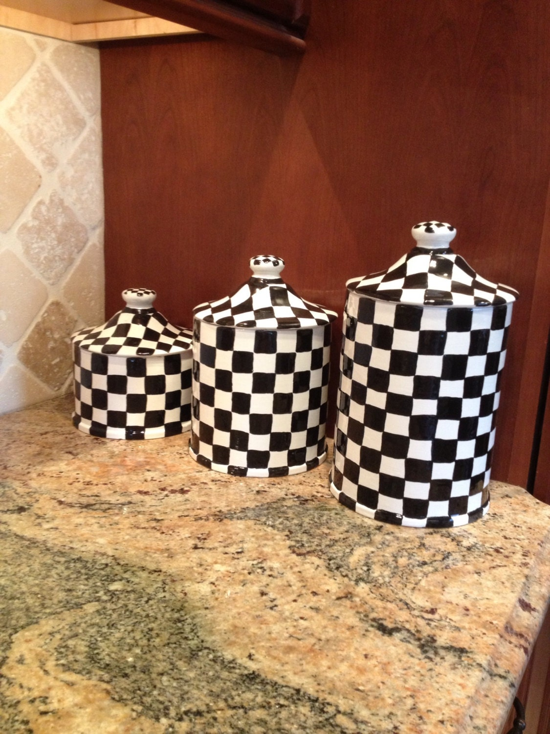 Black Kitchen Canisters Ceramic Clay Black And White Checkered Canister Set For