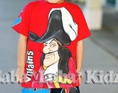 Disney Villains Hand painted boys Boutique custom painted shirt- you pick character 12 18 24 2 3 4 5 6