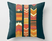 Tribal Chevron Throw Pillow Cover, Geometric, Red and Pink Orange, Original Illustration, Boho Decor, Autumn, Hipster 16x16, 18x18, 20x20 - JoyfulRoots