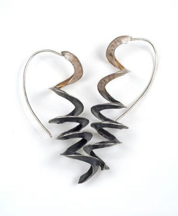fold formed earrings ooak