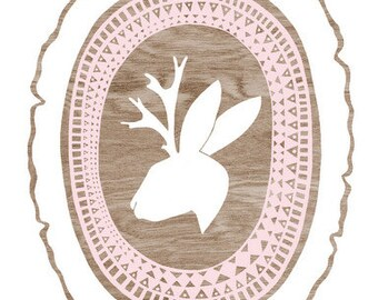 Tribal Jackalope Silhouette Print  -  Brown and White Woodgrain Wood Slice Art Print  - 8 x 10 Woodland Wall Art  Pastel Pink