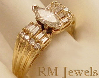 Glorious Marquis Diamond 14Kt Gold Vintage Estate Ring