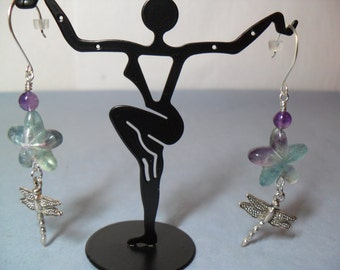 Multi Color Flourite Flower/Floral Earrings with Dragonfly/Damsel Fly, June 2013