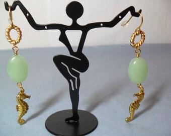 Translucent Minty Foamy Green Seashore/SEAHORSE/Brass dangle Earrings, June 2013