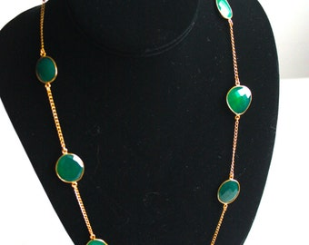 """24"""" Bezel Set Green Onyx with Gold Plated Chain Necklace"""
