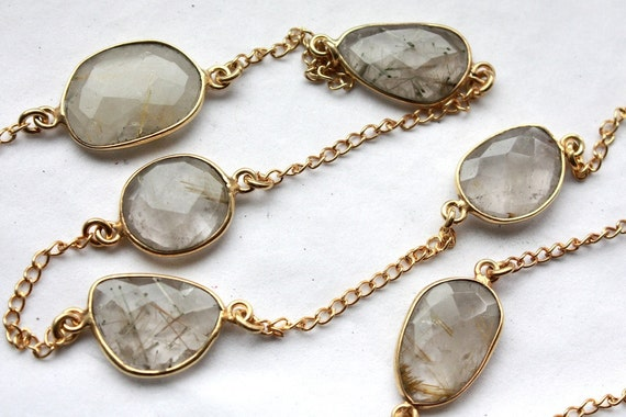 1 Foot of Golden Rutilated Quartz Bezel Set Gold Chain // Unfinished Chain // Jewelry Supply