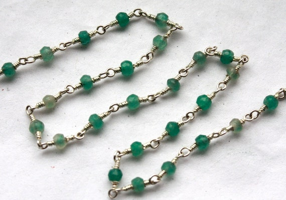 3 feet Hand Wired Chrysoprase Gemstones with Sterling Silver Chain // Gemstone Beaded Jewelry Chain // Unfinished Chain