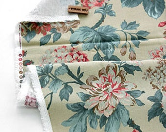 A Yard of Bloom Shabby Floral on Green Linen WIDE 140cm, U7114
