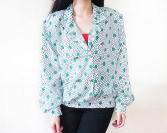 SALE Polka Dot Chevron Double Breasted Silky Chiffon Polyester Long Sleeve Shirt L