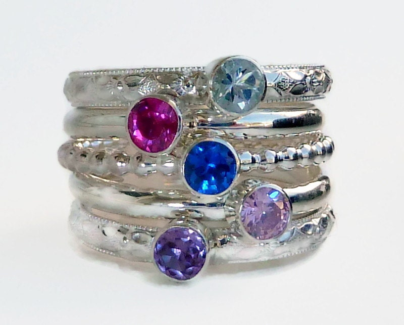 5 stacking rings stackable rings gemstone by gizmostreasures
