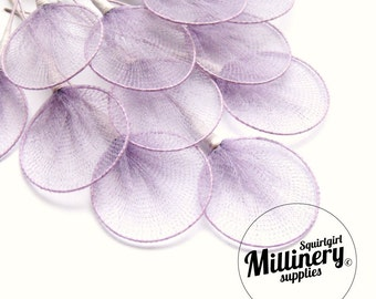 12 Purple Wired Tulle Circles for Millinery, Fascinators, Floral Crafts