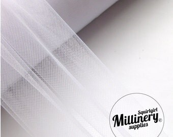 30cm (12 Inch) Wide Tulle Netting for Millinery, Blusher Veils & Crafts 1 Metre White