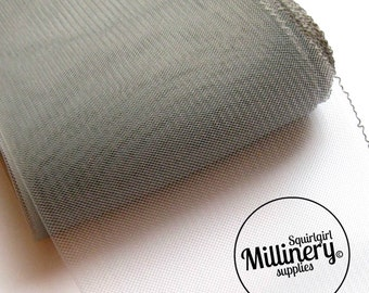 6 Inch (15cm) Wide Crinoline (Crin, Horsehair Braid) for Hats, Millinery, and Fascinators - Grey