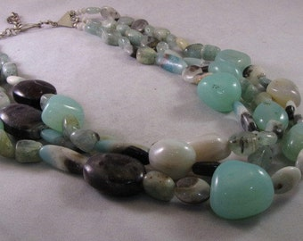 Amazonite, Agate and Moonstone Necklace