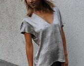 Handmade Shirt Top Grey Silver Loose Fit Blouse V-Neckline Summer High Fashion