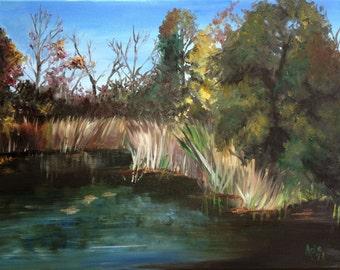 """Plein Air Fall Original Landscape Painting - 20x16"""""""
