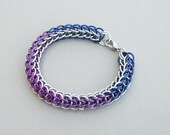 Blue, purple, violet, chainmaille ombre color fade  full Persian anodized aluminum bracelet