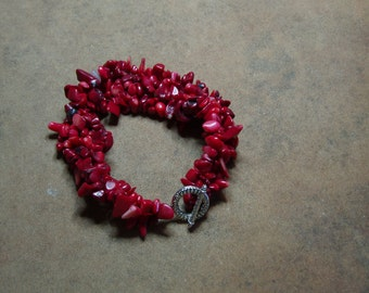 Genuine Red Coral Gemstone Chips,  Silver Bracelet