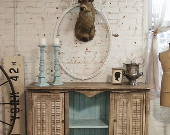 Painted Cottage Chic Shabby Hand Made Farmhouse Cabinet