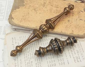 2 vintage brass drawer pulls handles