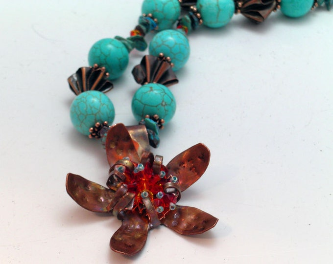 Copper Flower and Turquoise Necklace