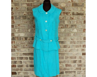 1960s linen suit, skirt suit, turquoise aqua blue, vest top, preppy, Peter Pan Collar